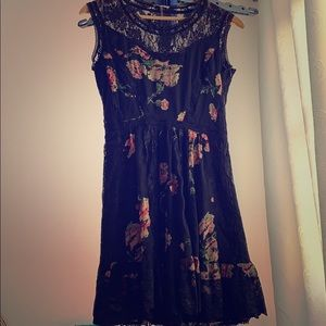 Black floral dress with lace